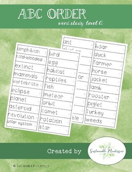 Word Study A- ABC order