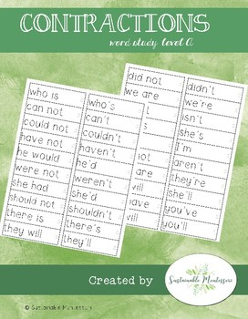 Word Study A- Contractions