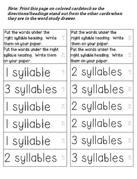 Word Study A- Syllables