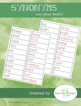 Word Study A- Synonyms