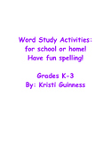 Word Study Activites