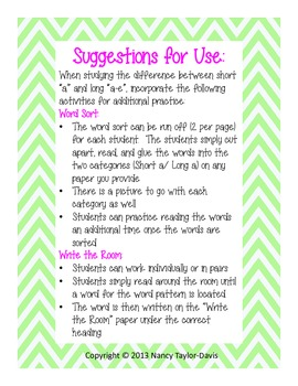 """Word Study:  Activities for Short and Long """"a"""""""