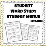 Word Study Activity Menus - EDITABLE FREEBIE