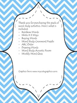 Word Study Activity Packet- Great for Centers or Morning Work