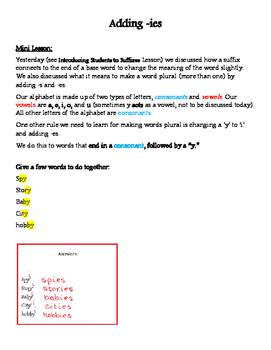Word Study: Adding -ies
