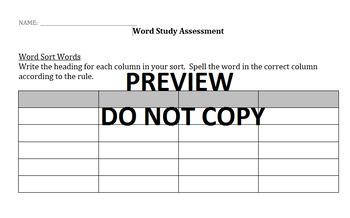 Word Study Assessment