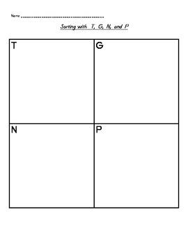 Word Study Beginning Sound Unit: T, G, N, and P