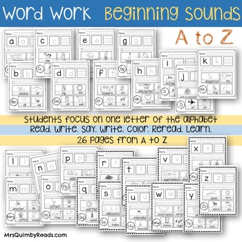 Beginning Sounds - Emergent Readers - Word Study