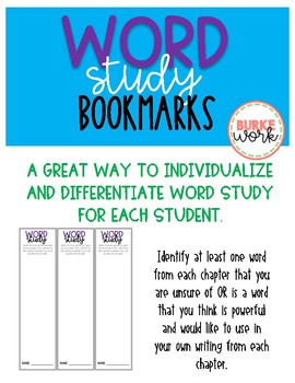 Word Study Bookmarks