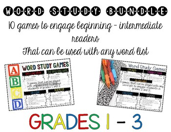 Word Study Bundle – 10 Phonics, Spelling, & Sight Word Games for Grades 1-3