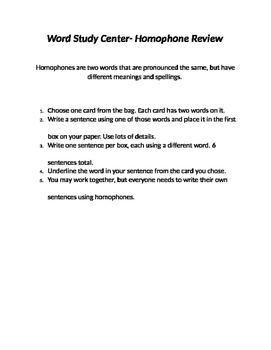 Word Study Center- Homophones