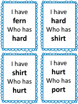 Word Study Center: R-Controlled Vowels-I have... Who has...