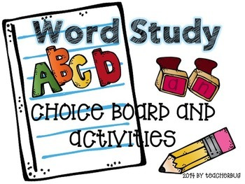 Word Study Choice Board and Activities - Editable