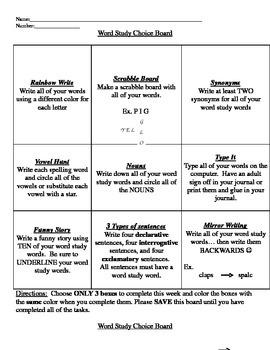 Word Study Choice Boards