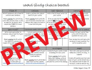 Word Study Choice Menu