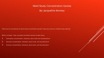Word Study Concentration Games: Synonyms, Antonyms and Contractions