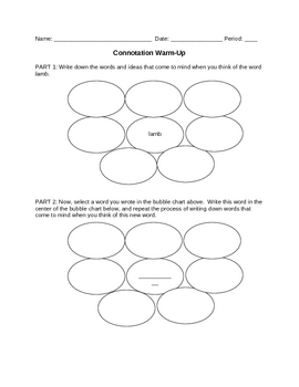 Word Study: Connotation Warm Up