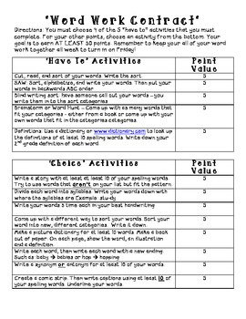 Word Study Contract - Level 2