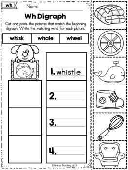 Word Study Cut and Paste Sorts Digraphs