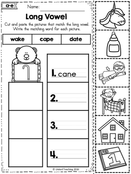 Word Study Cut and Paste Sorts Long Vowels
