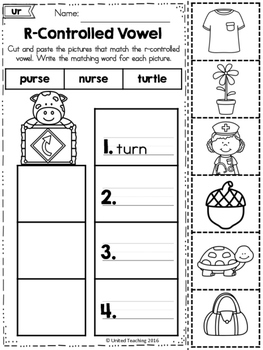 Word Study Cut and Paste Sorts R-Controlled Vowel Words