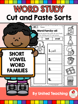 Word Study Cut and Paste Sorts Word Families
