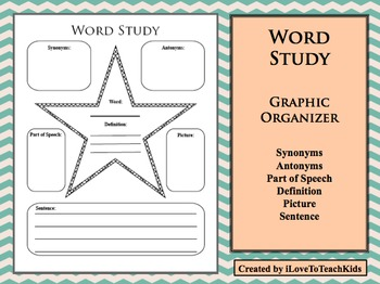 Word Study Daily Activity Antonyms Synonyms Parts of Speech Definition Sentence