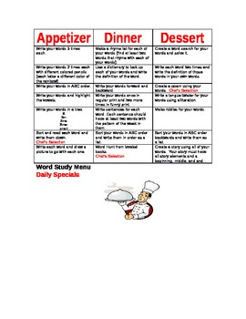 Word Study Daily Specials