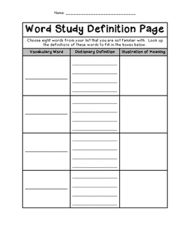 Word Study Definition Page - Homework