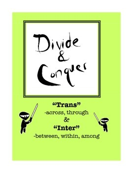 "Word Study: Divide and Conquer Packet ""Trans"" and ""Inter"""
