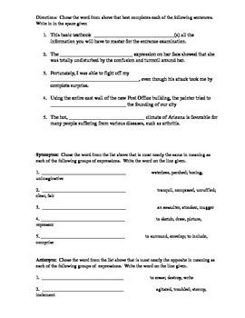 Vocabulary --  Enhancing student's vocabulary (Lessons 1-4)