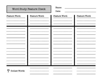 Word Study / Spelling Feature Check (test or quiz form)