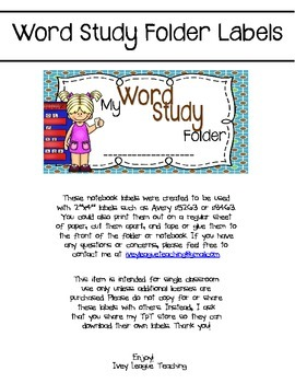 Word Study Folder Labels