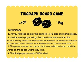 Word Study Game - Trigraphs -tch and -dge