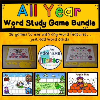 Word Study Games (Any Word Feature) All Year BUNDLE