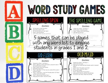 Word Study Games For: Spelling, Phonics Patterns & Sight Words for Grades 1-2