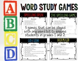 Word Study Games For: Spelling, Phonics Patterns & Sight W