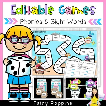 Editable Word Study Games - Use with sight words, word sorts...