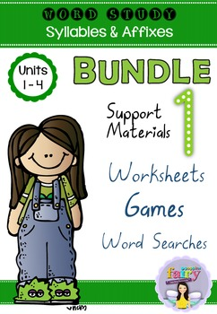 Word Study Games & Worksheets - Syllables & Affixes BUNDLE 1