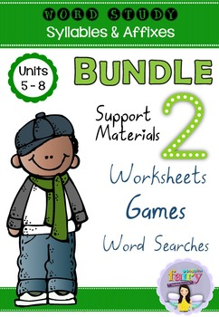 Word Study Games & Worksheets - Syllables & Affixes BUNDLE 2