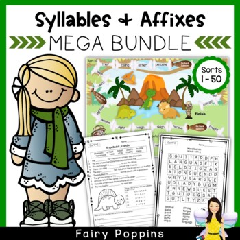 Word Study Games & Worksheets - Syllables and Affixes MEGA BUNDLE