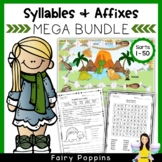 Word Study Games & Worksheets - Syllables and Affixes MEGA BUNDLE