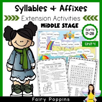 Word Study Games & Worksheets - Syllables and Affixes (Unit 4)