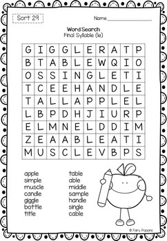 Word Study Games & Worksheets - Syllables and Affixes (Unit 5)