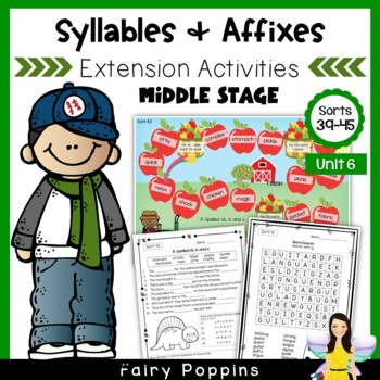 Word Study Games & Worksheets - Syllables and Affixes (Unit 6)