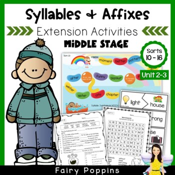 Word Study Games & Worksheets - Syllables and Affixes (Units 2-3)
