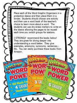 Word Study Graphic Organizer Task Cards