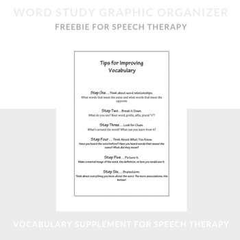 Word Study Graphic Organizer for Speech Therapy