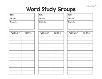 Word Study Group Organization