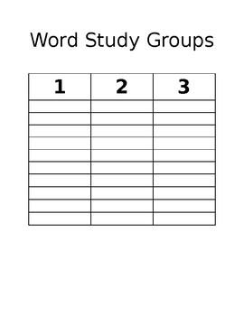 Word Study Groups Organizer